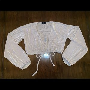 Shimmery Cropped Tie-Up Blouse